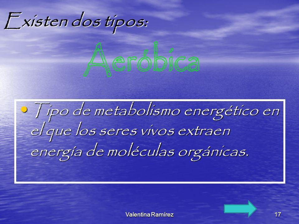 Existen dos tipos: Aeróbica. Tipo de metabolismo energético en el que los seres vivos extraen energía de moléculas orgánicas.