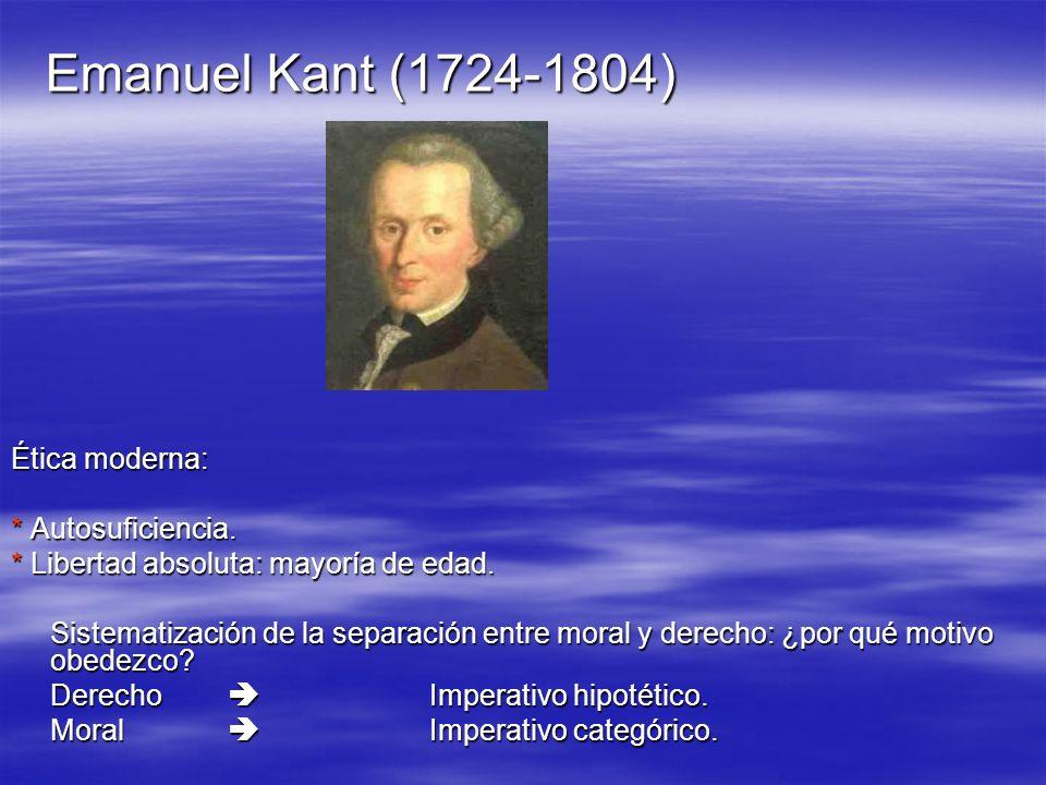 Emanuel Kant (1724-1804) Ética moderna: * Autosuficiencia.