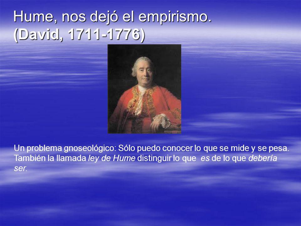 Hume, nos dejó el empirismo. (David, 1711-1776)