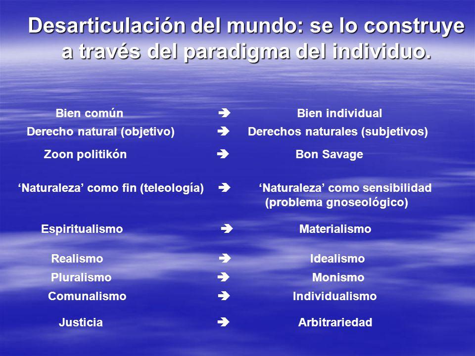 Desarticulación del mundo: se lo construye a través del paradigma del individuo.
