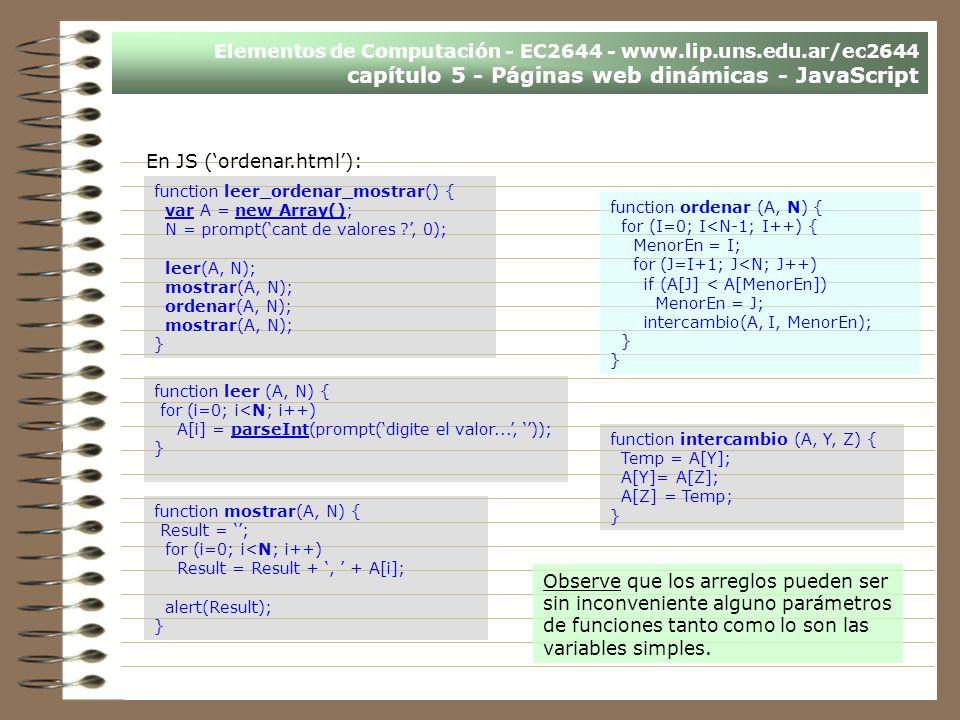 En JS ('ordenar.html'):