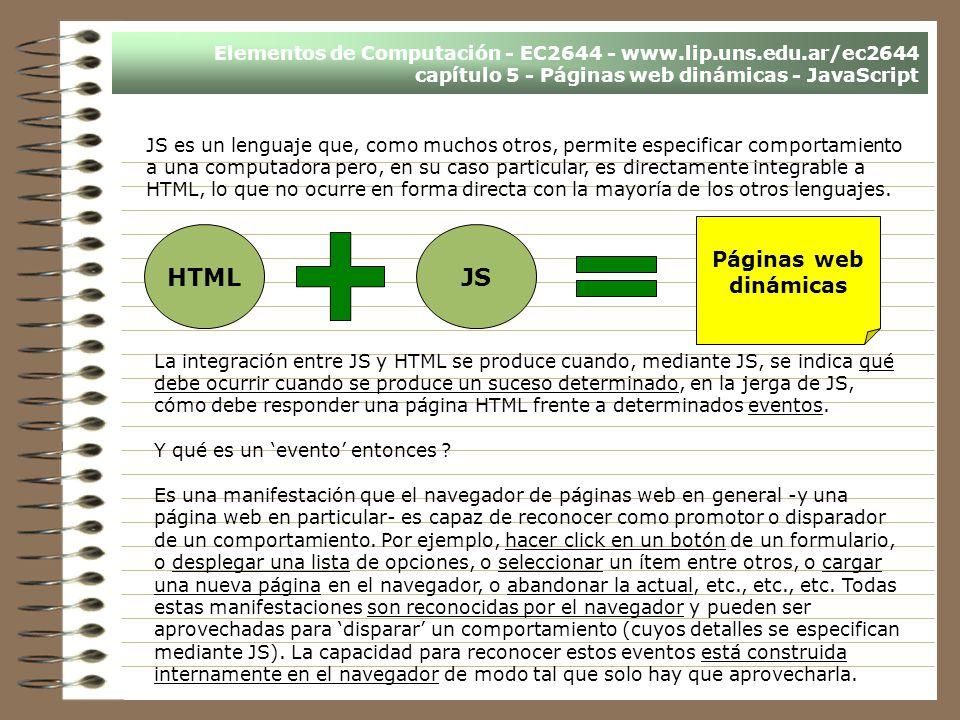 HTML JS Páginas web dinámicas