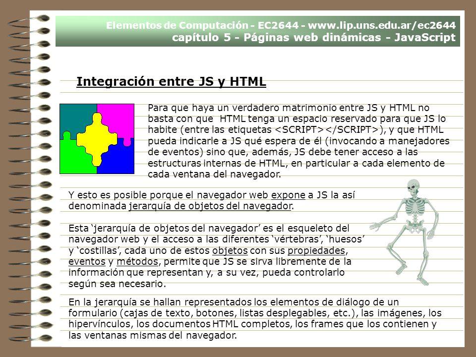 Integración entre JS y HTML