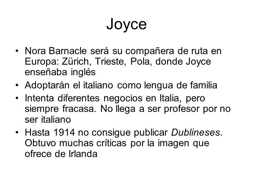 Joyce Nora Barnacle será su compañera de ruta en Europa: Zürich, Trieste, Pola, donde Joyce enseñaba inglés.