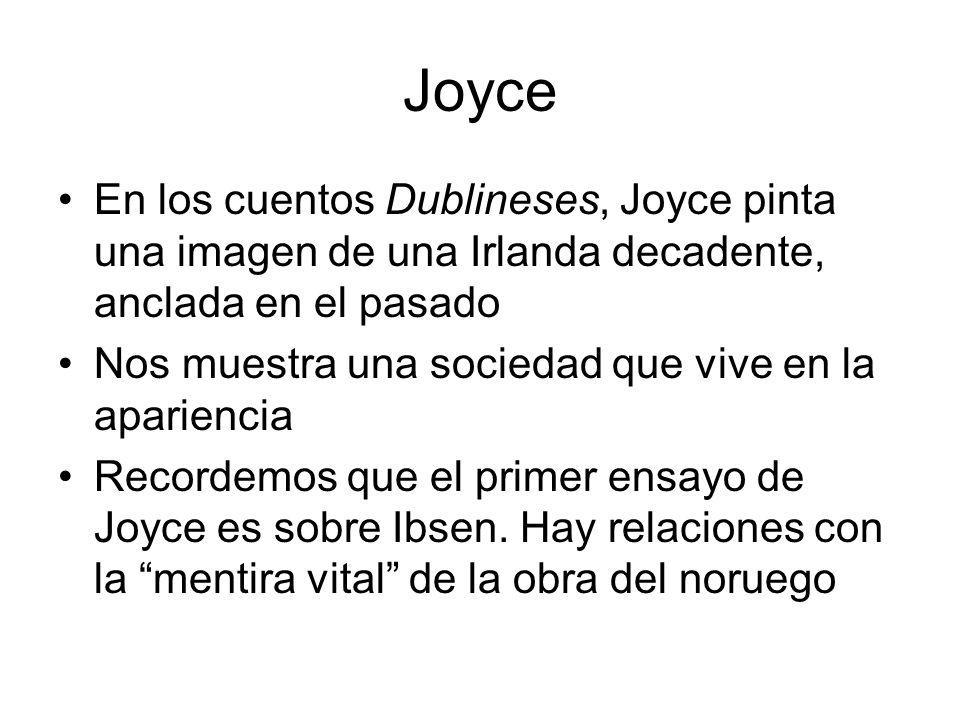 Joyce En los cuentos Dublineses, Joyce pinta una imagen de una Irlanda decadente, anclada en el pasado.