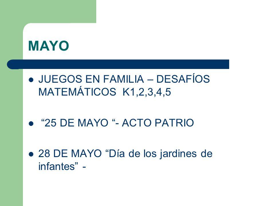 MAYO JUEGOS EN FAMILIA – DESAFÍOS MATEMÁTICOS K1,2,3,4,5