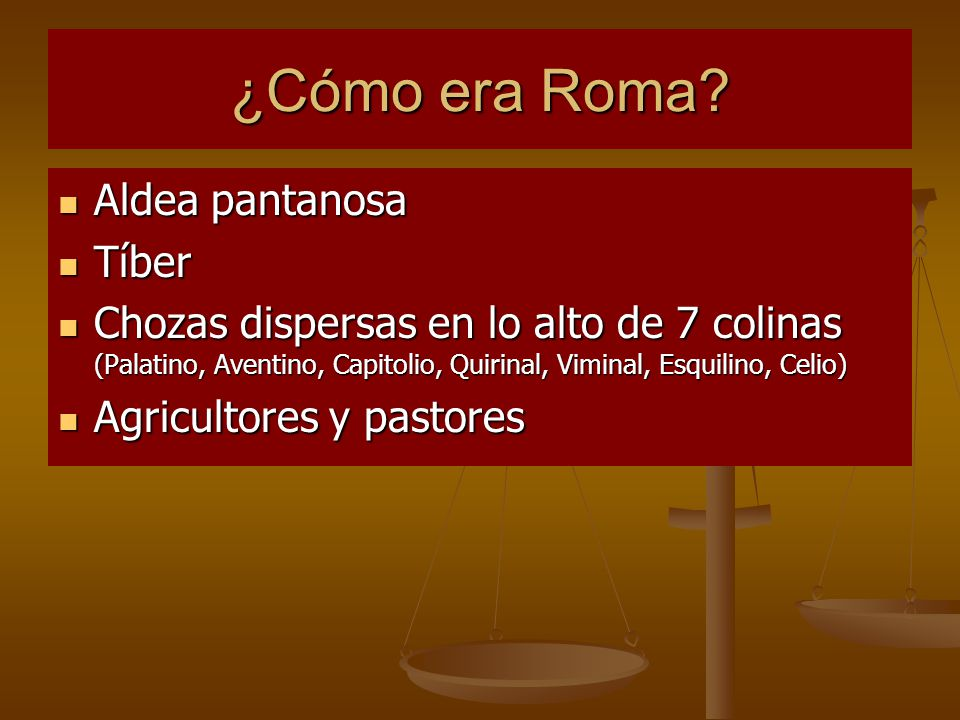 ¿Cómo era Roma Aldea pantanosa Tíber