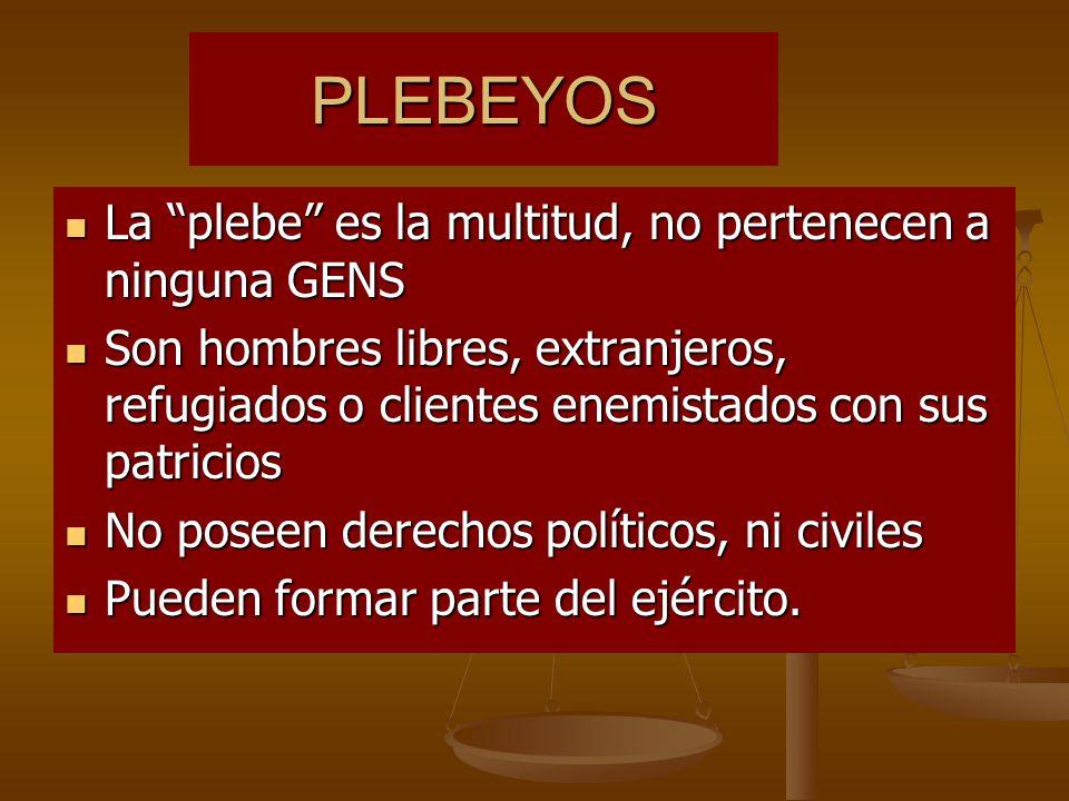PLEBEYOS La plebe es la multitud, no pertenecen a ninguna GENS