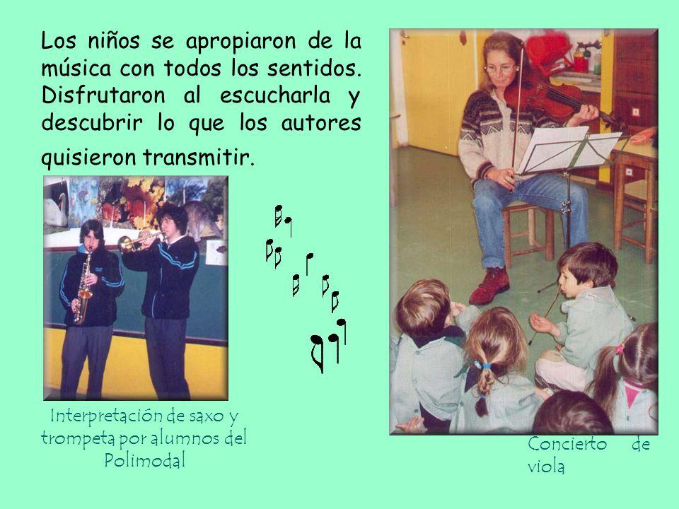 Interpretación de saxo y trompeta por alumnos del Polimodal