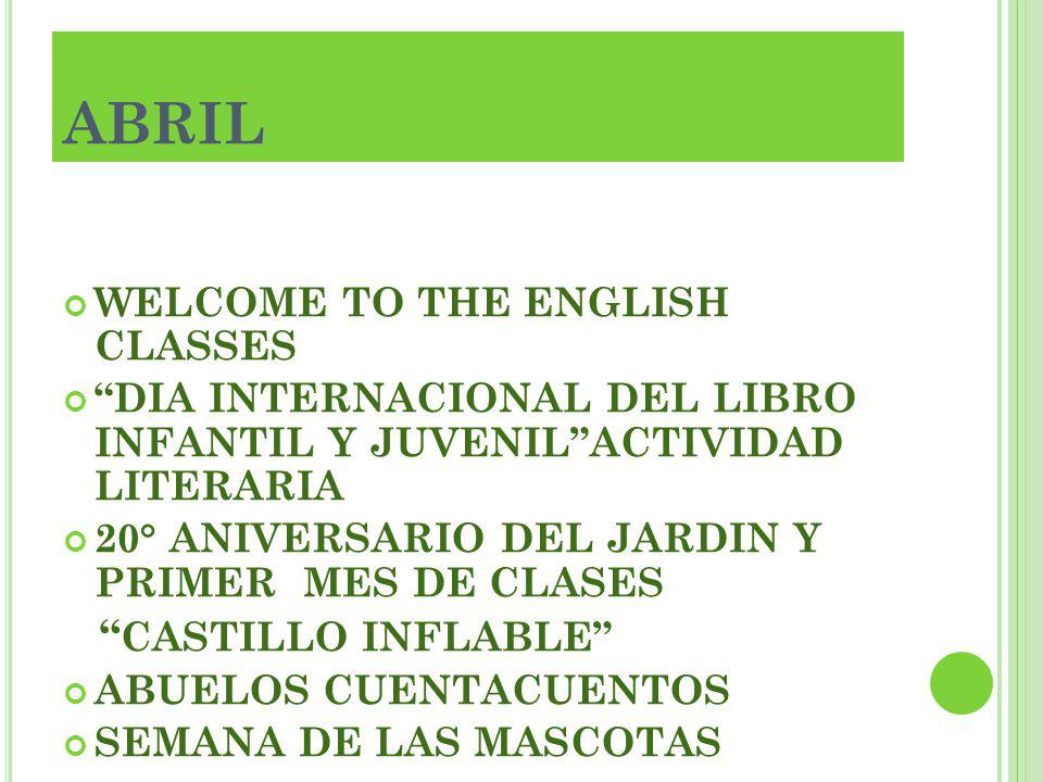 ABRIL CASTILLO INFLABLE WELCOME TO THE ENGLISH CLASSES
