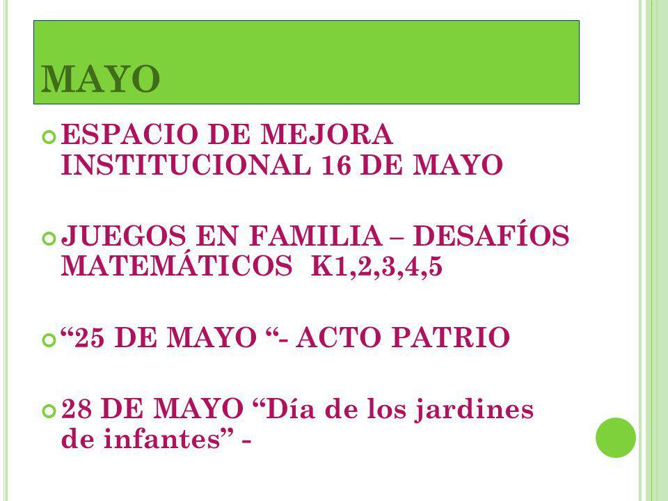 MAYO ESPACIO DE MEJORA INSTITUCIONAL 16 DE MAYO
