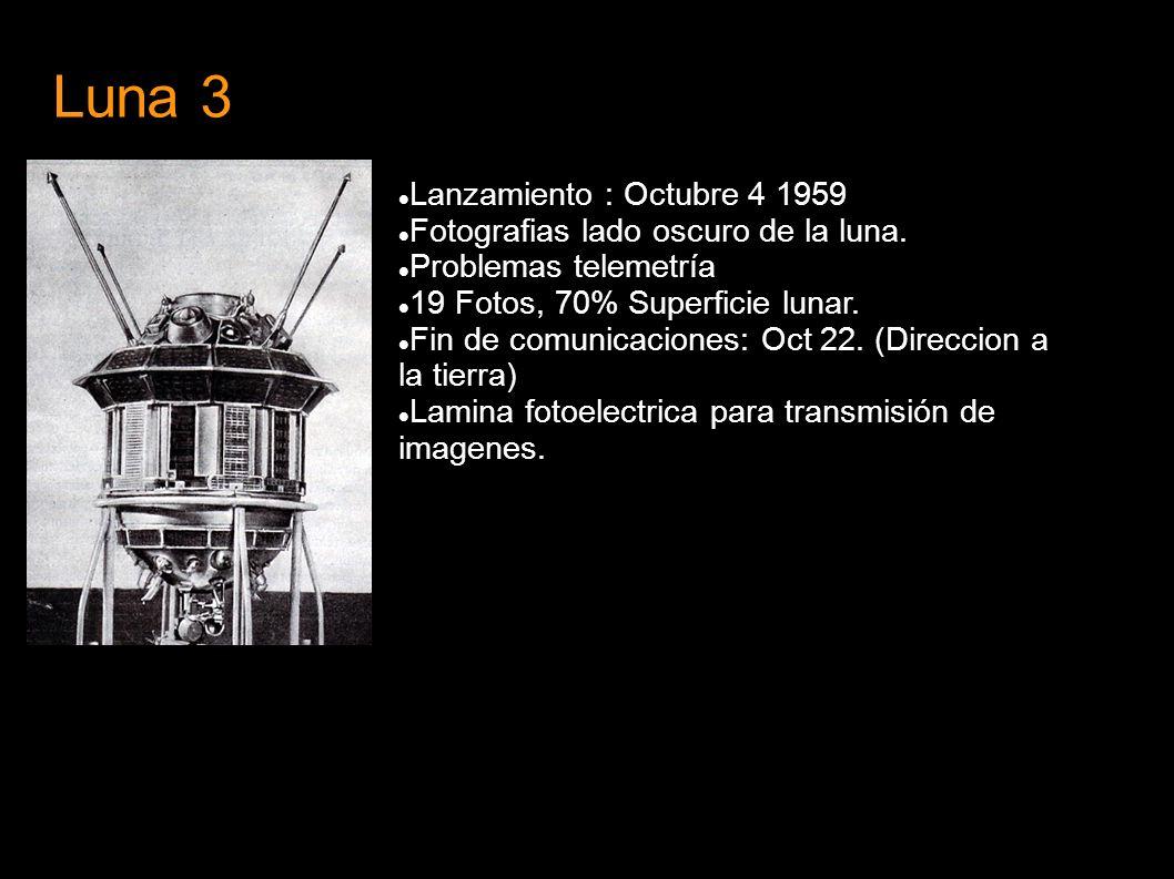 Luna 3 Lanzamiento : Octubre 4 1959