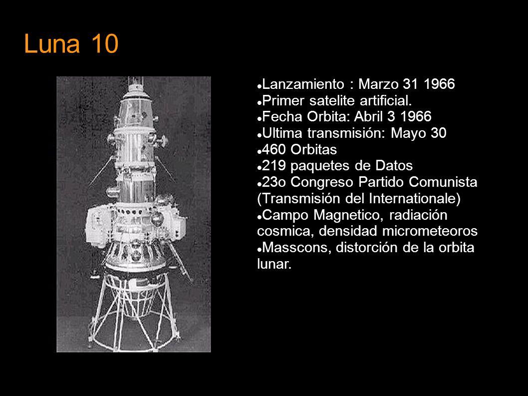 Luna 10 Lanzamiento : Marzo 31 1966 Primer satelite artificial.