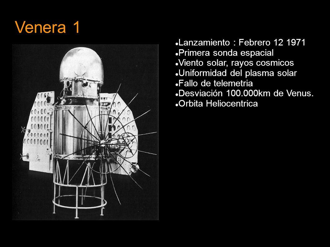 Venera 1 Lanzamiento : Febrero 12 1971 Primera sonda espacial