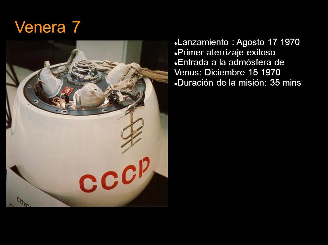 Venera 7 Lanzamiento : Agosto 17 1970 Primer aterrizaje exitoso