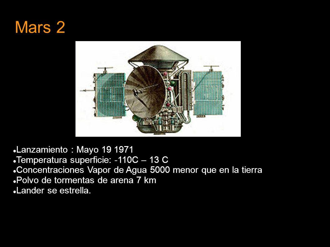 Mars 2 Lanzamiento : Mayo 19 1971 Temperatura superficie: -110C – 13 C