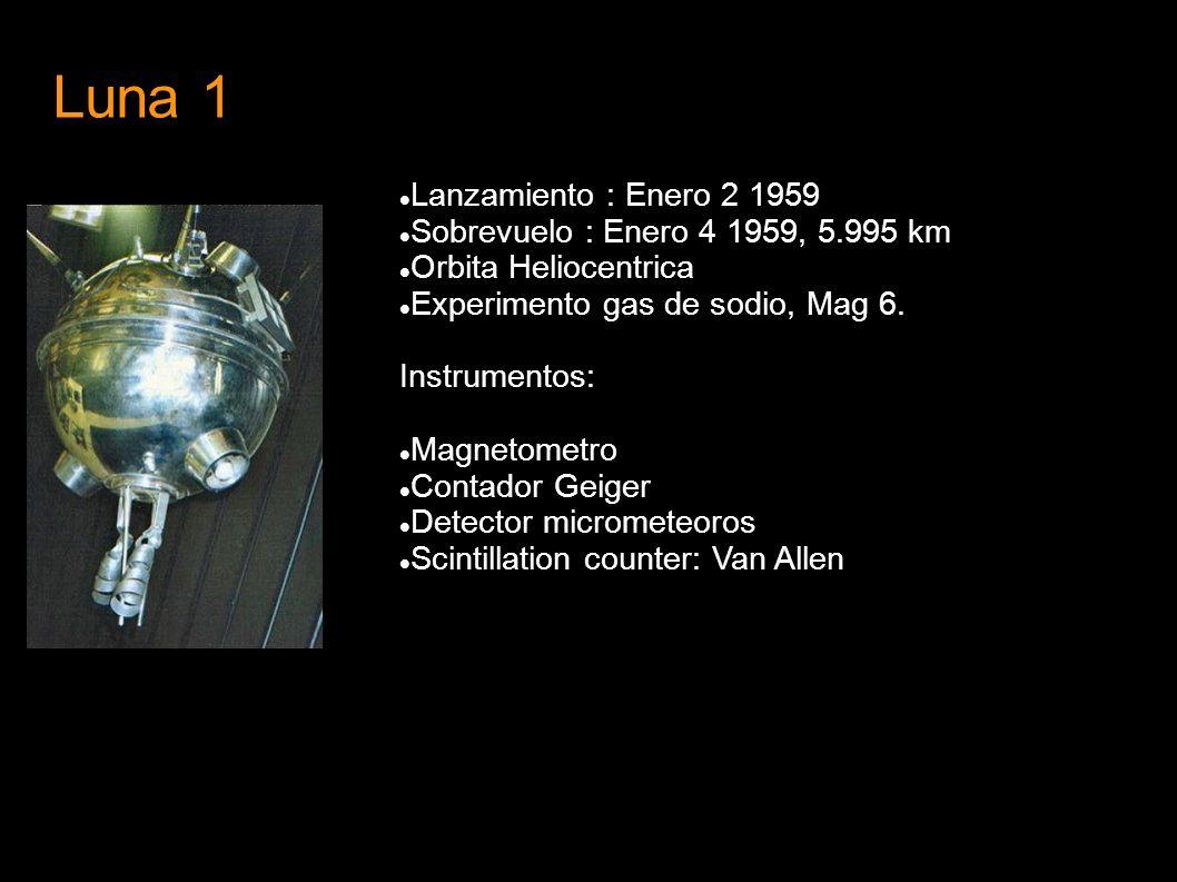 Luna 1 Lanzamiento : Enero 2 1959 Sobrevuelo : Enero 4 1959, 5.995 km
