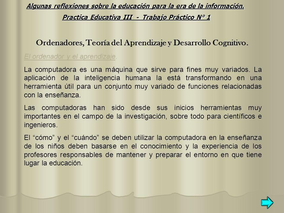 Ordenadores, Teoría del Aprendizaje y Desarrollo Cognitivo.