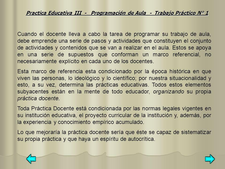 Practica Educativa III - Programación de Aula - Trabajo Práctico N° 1