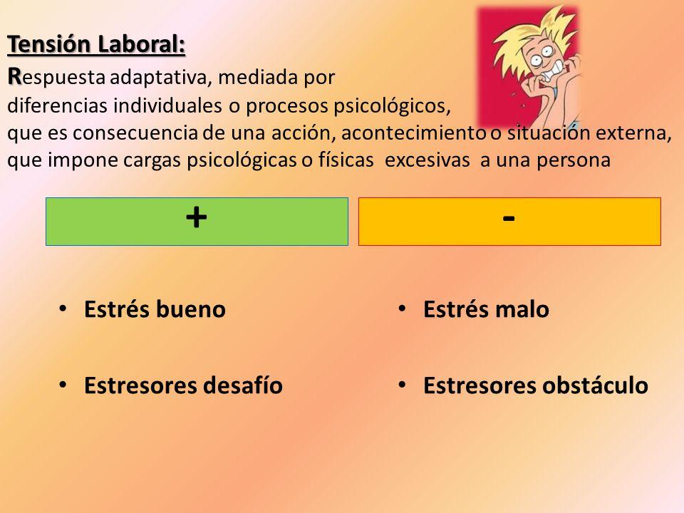 Tensión Laboral: Respuesta adaptativa, mediada por diferencias individuales o procesos psicológicos, que es consecuencia de una acción, acontecimiento o situación externa, que impone cargas psicológicas o físicas excesivas a una persona