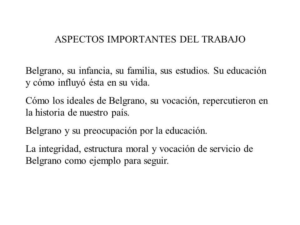 ASPECTOS IMPORTANTES DEL TRABAJO