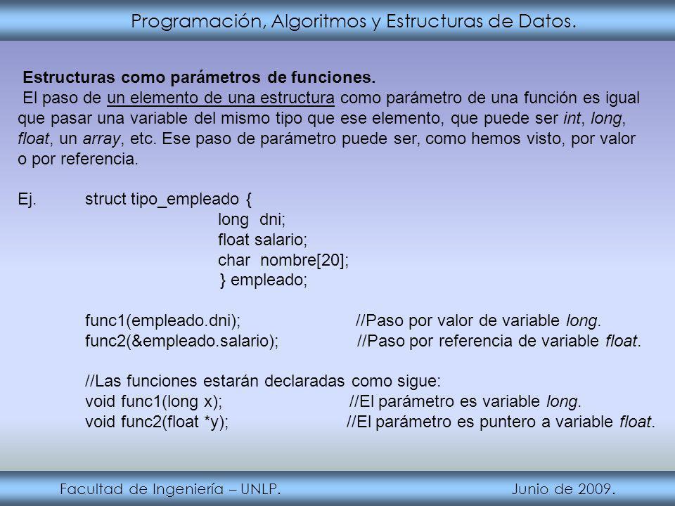 Programación, Algoritmos y Estructuras de Datos.