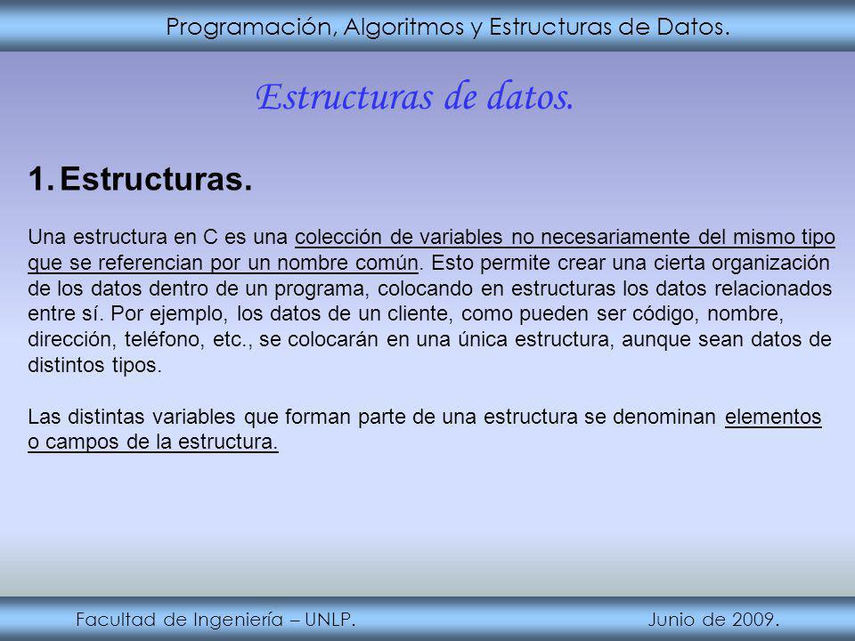 Estructuras de datos. Estructuras.