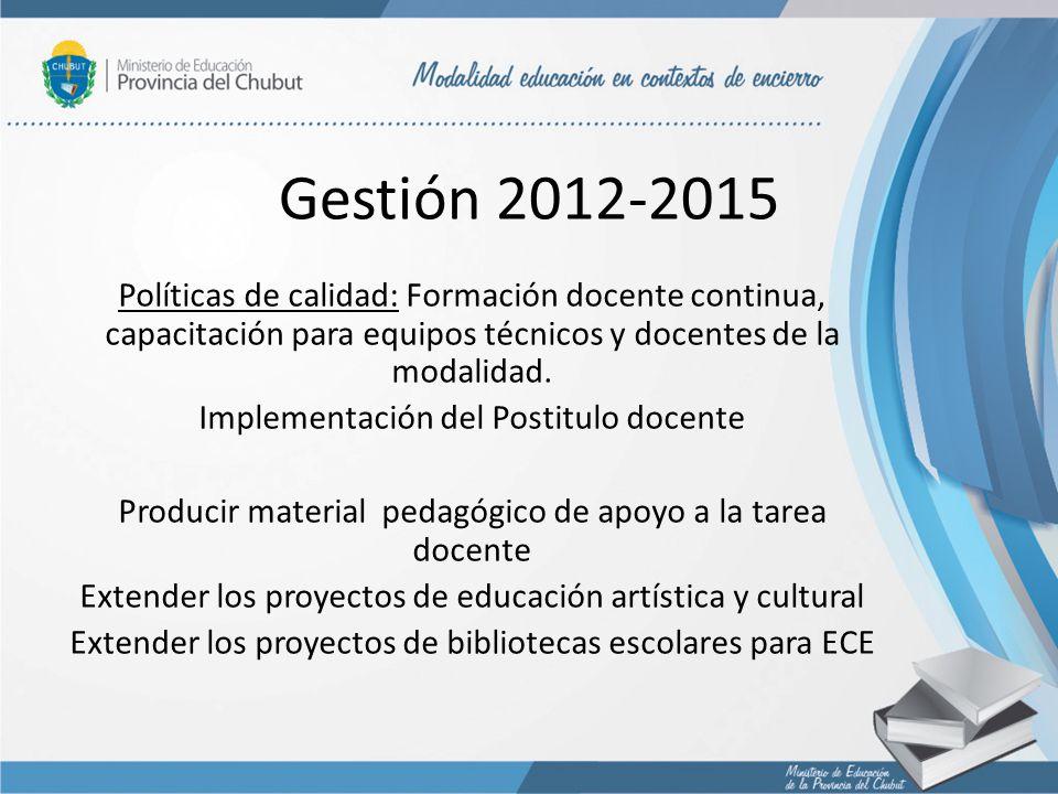 Gestión 2012-2015 Políticas de calidad: Formación docente continua, capacitación para equipos técnicos y docentes de la modalidad.