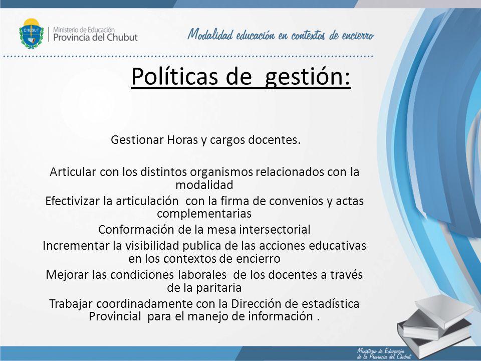 Políticas de gestión: Gestionar Horas y cargos docentes.