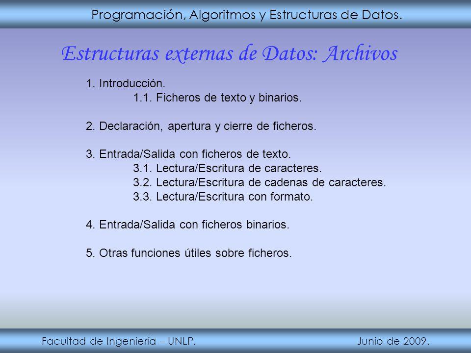 Estructuras externas de Datos: Archivos