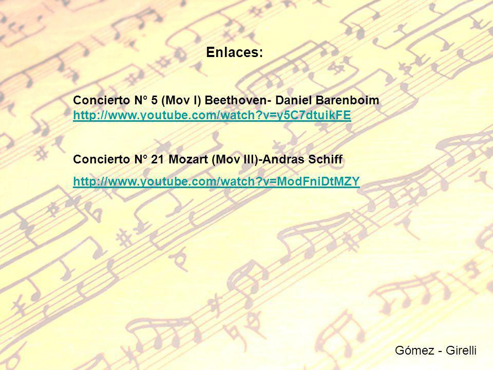 Enlaces: Concierto N° 5 (Mov I) Beethoven- Daniel Barenboim http://www.youtube.com/watch v=y5C7dtuikFE.