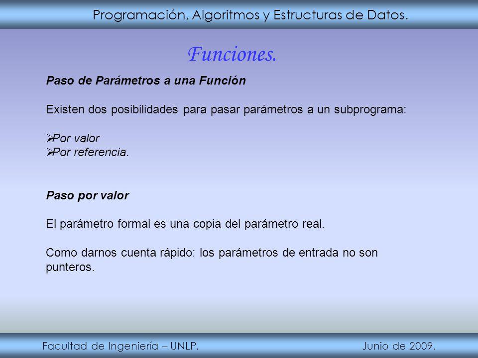 Funciones. Programación, Algoritmos y Estructuras de Datos.