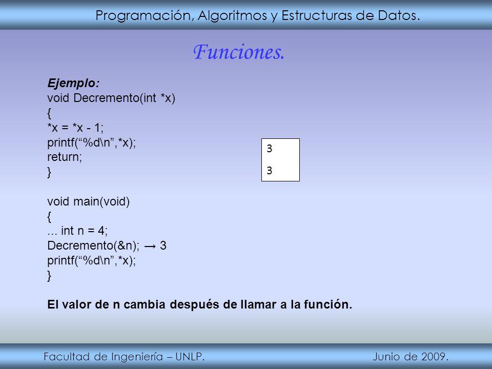Funciones. Programación, Algoritmos y Estructuras de Datos. Ejemplo: