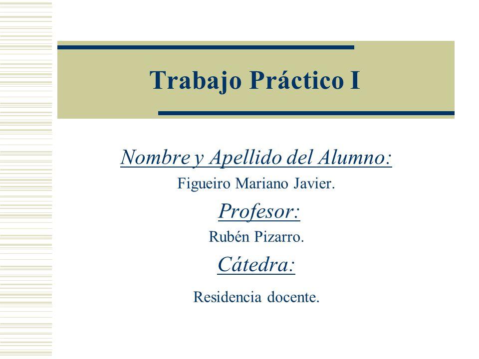 Trabajo Práctico I Nombre y Apellido del Alumno: Profesor: Cátedra: