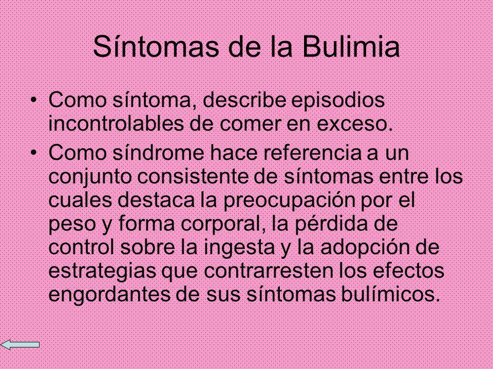 Síntomas de la Bulimia Como síntoma, describe episodios incontrolables de comer en exceso.