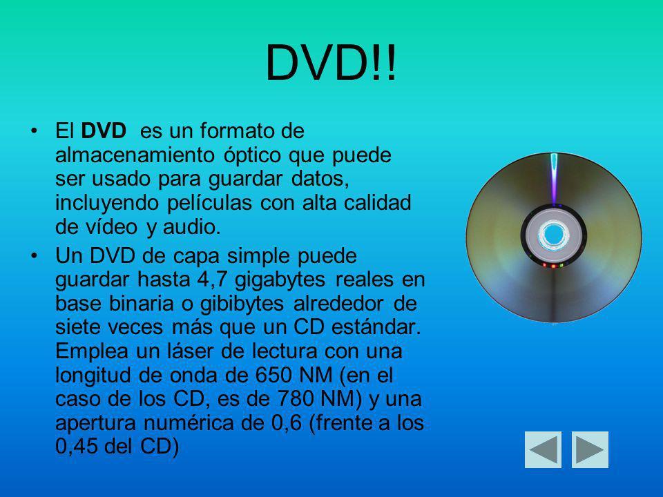 DVD!! El DVD es un formato de almacenamiento óptico que puede ser usado para guardar datos, incluyendo películas con alta calidad de vídeo y audio.