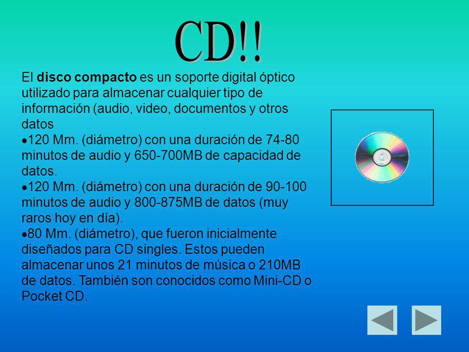 CD!! El disco compacto es un soporte digital óptico utilizado para almacenar cualquier tipo de información (audio, video, documentos y otros datos.