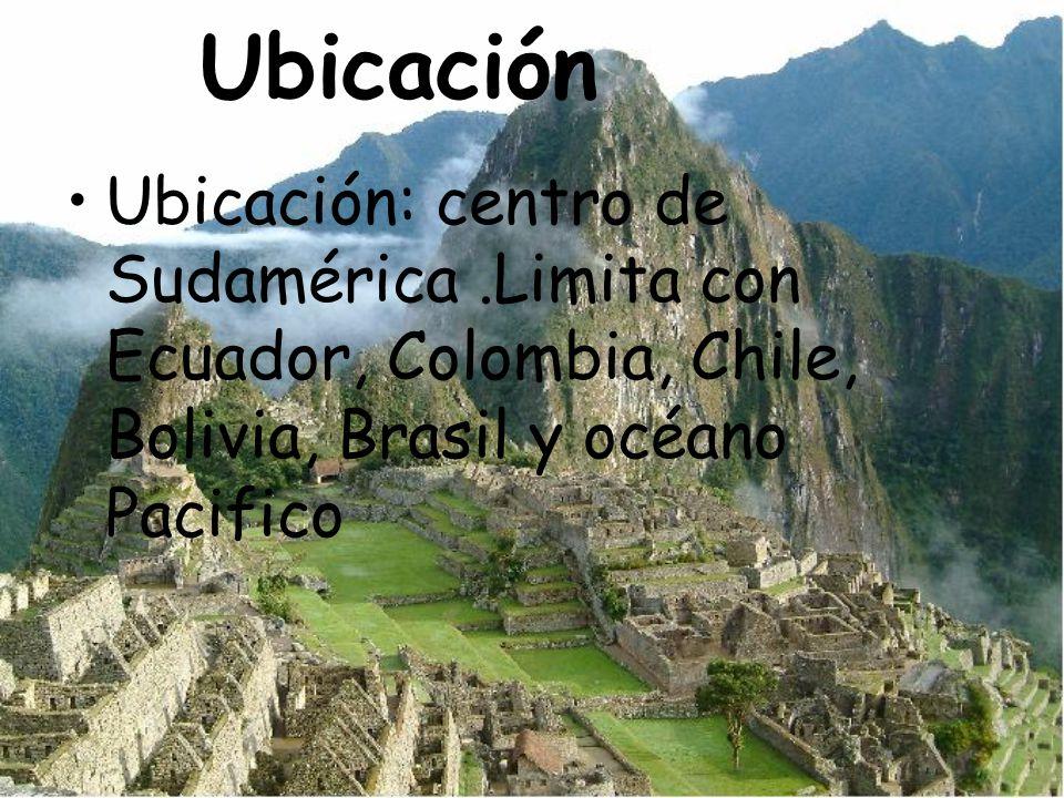Ubicación Ubicación: centro de Sudamérica .Limita con Ecuador, Colombia, Chile, Bolivia, Brasil y océano Pacifico.