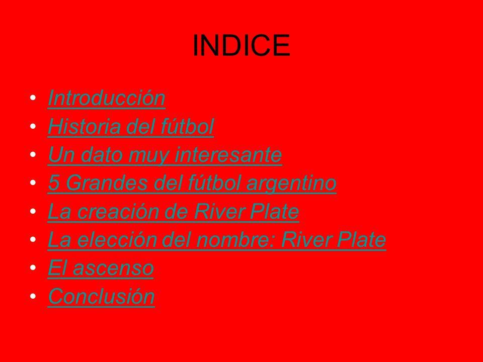 INDICE Introducción Historia del fútbol Un dato muy interesante