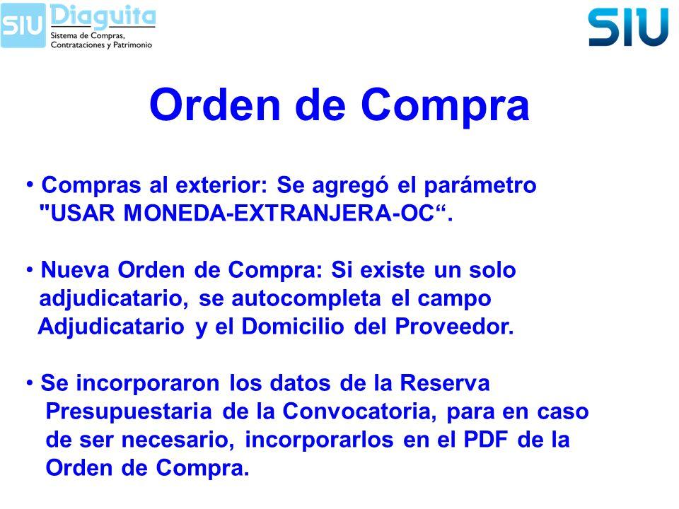 Orden de Compra Compras al exterior: Se agregó el parámetro