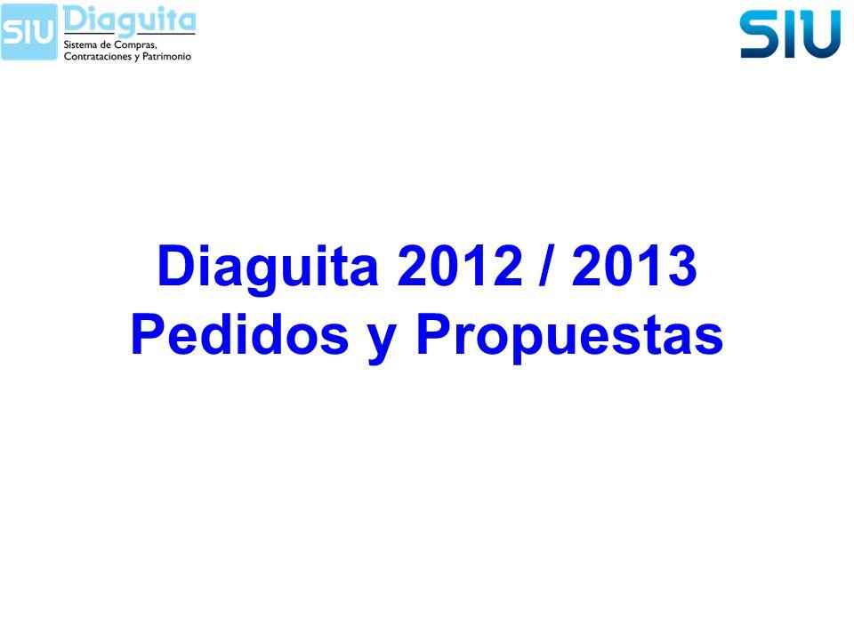 Diaguita 2012 / 2013 Pedidos y Propuestas