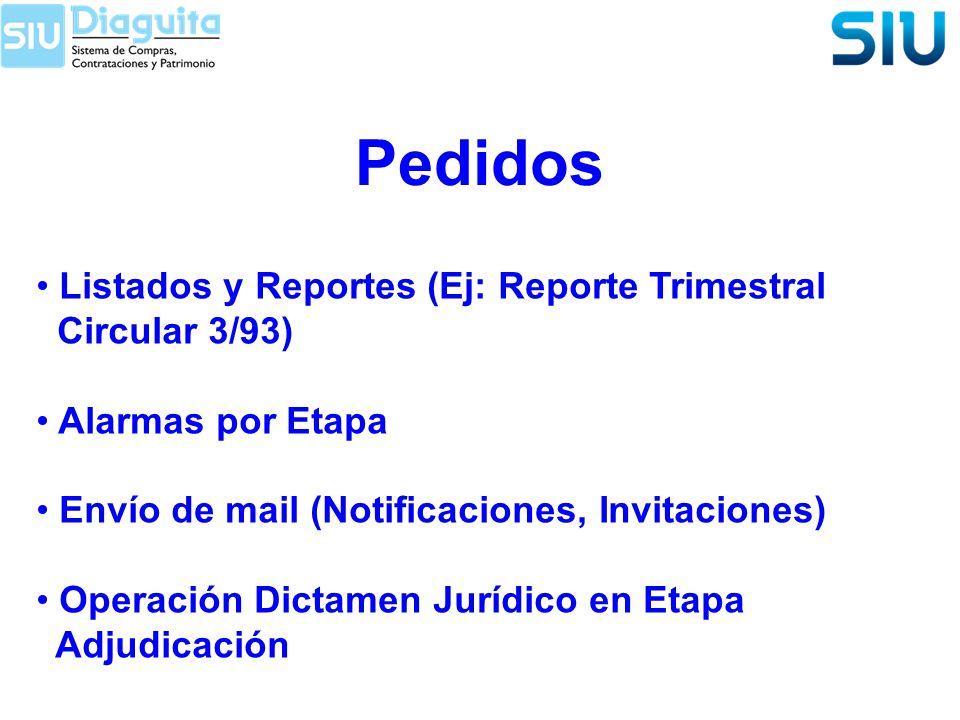 Pedidos Listados y Reportes (Ej: Reporte Trimestral Circular 3/93)