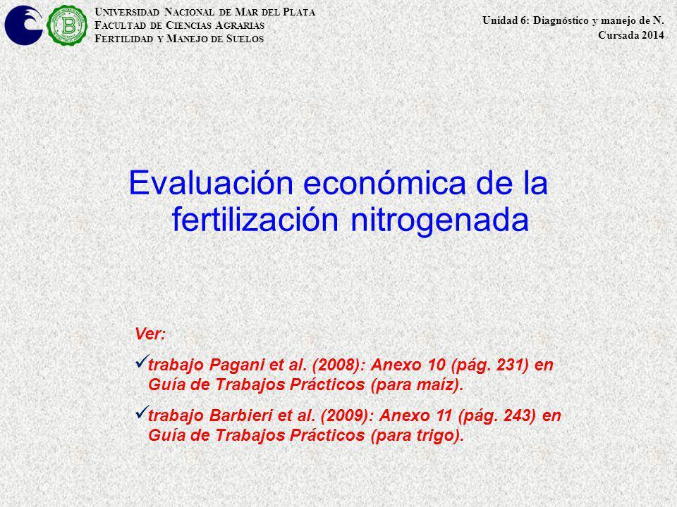 Evaluación económica de la fertilización nitrogenada