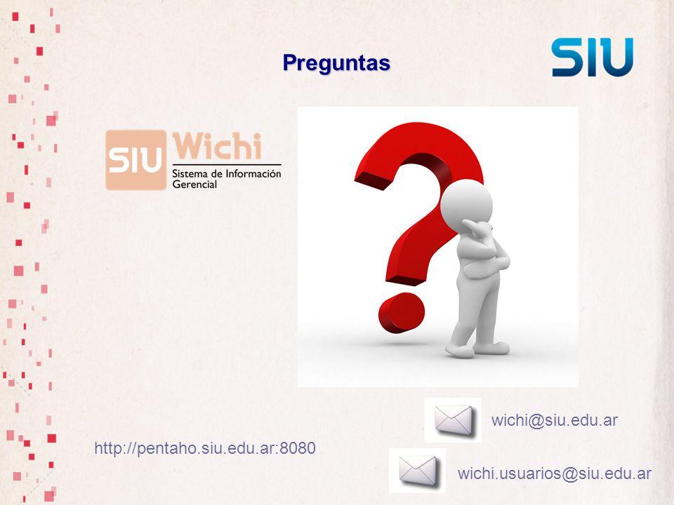 Preguntas wichi@siu.edu.ar http://pentaho.siu.edu.ar:8080