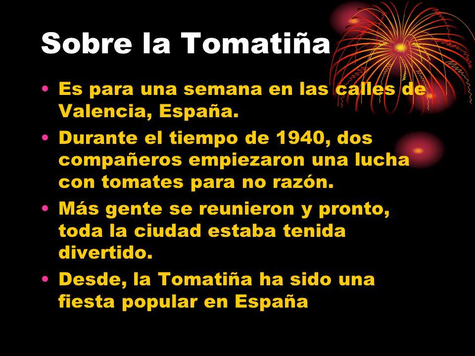 Sobre la Tomatiña Es para una semana en las calles de Valencia, España.
