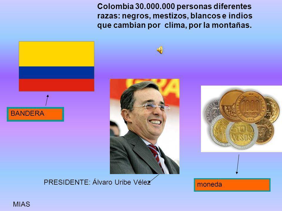 Colombia 30.000.000 personas diferentes razas: negros, mestizos, blancos e indios que cambian por clima, por la montañas.