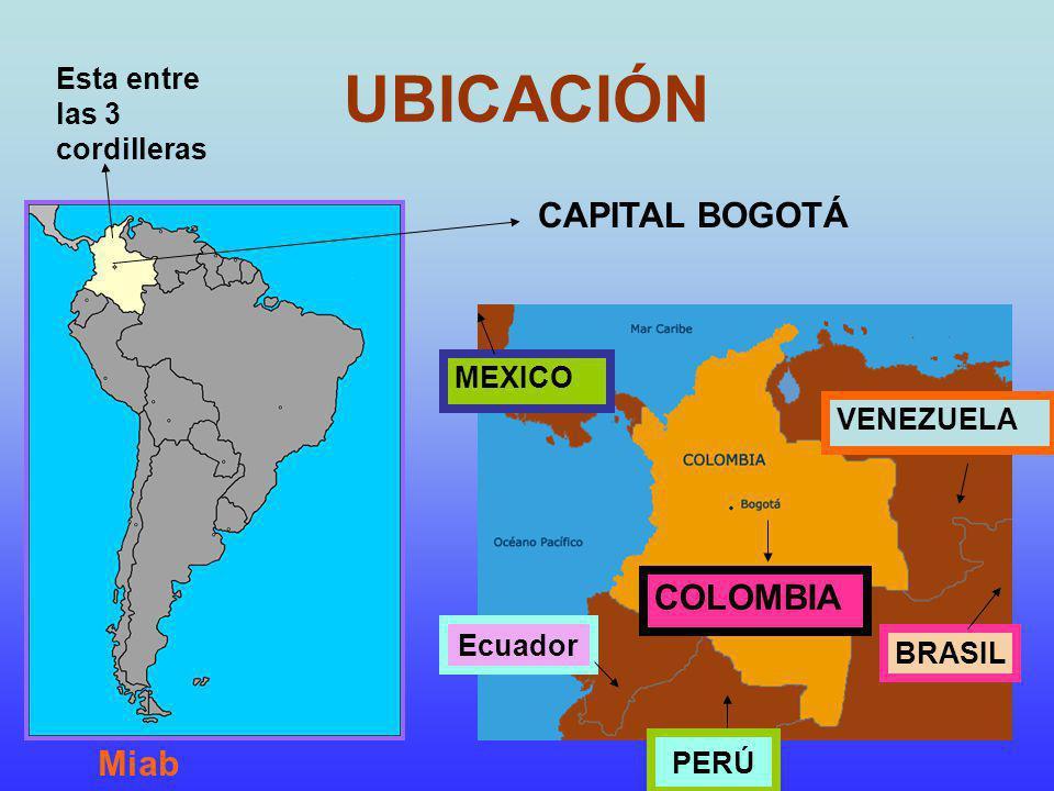 UBICACIÓN CAPITAL BOGOTÁ COLOMBIA Miab Esta entre las 3 cordilleras