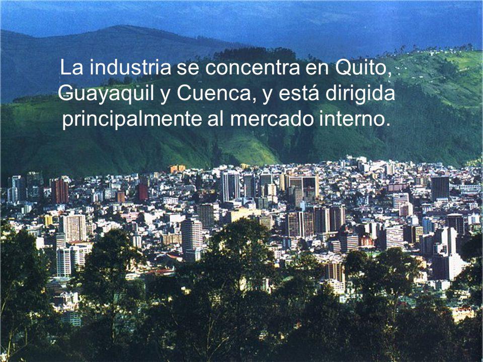 La industria se concentra en Quito, Guayaquil y Cuenca, y está dirigida principalmente al mercado interno.