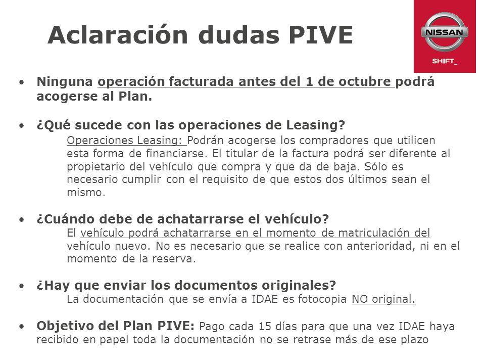 Aclaración dudas PIVE Ninguna operación facturada antes del 1 de octubre podrá acogerse al Plan. ¿Qué sucede con las operaciones de Leasing