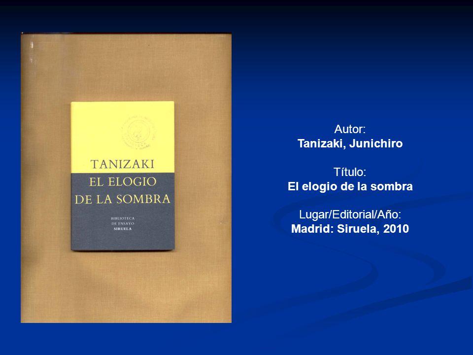 Lugar/Editorial/Año: